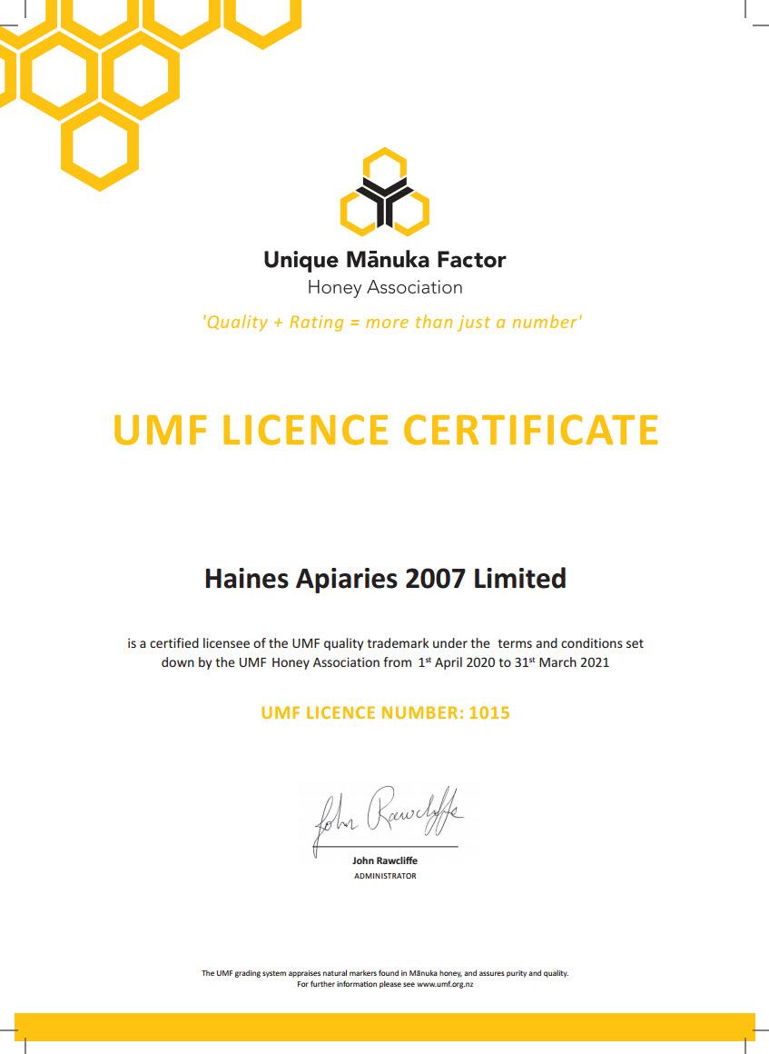 Haines umfha certificate 2020-2021