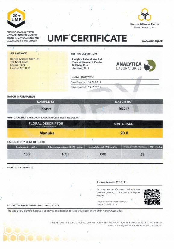 Haines UMF 20+ Manuka med Laboratorijska analiza